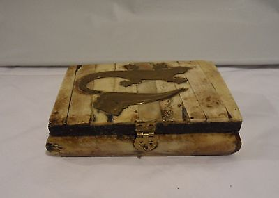 Vintage HAND CRAFTED & Brass Inlaid Jewelry Box