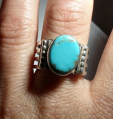 Vtg Sterling Silver Navajo RB Running Bear Native American Blue Turquoise Ring
