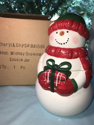 """Signed CHERYL'S """"Whimsy Snowman"""" Cookie Jar Hat Scarf Mittens NEW in Box"""