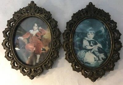 Rare 2 Antique/vintage Small Ornate Oval Brass Pictures Frame Convex Italy