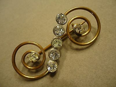 Vintage ART DECO Brass & Clear Rhinestone S Shape Swirl Brooch Pin
