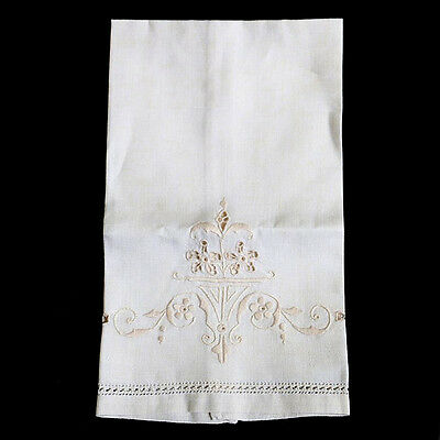Vintage long embroidered linen cream doily napkin mat 51cm long