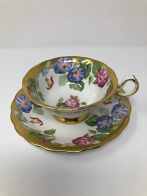 Royal Chelsea Morning Glory Pink Blue Flowers Gold Trim Cup & Saucer
