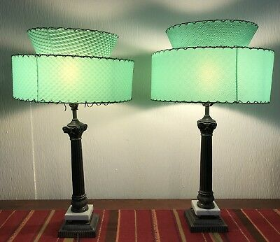Pair Mid-Century Modern Lamps Two-Tier Fiberglass Jadite Color Shades