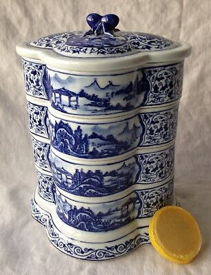 Chinese Porcelain Bento Box JUBAKO Hand-Painted w/ Spider Handle 4-Trays 8.5""