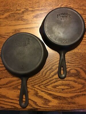 Lot Of Two Favorite Cast Iron # 3 Skillets, Pans Smiley and Straight Logos