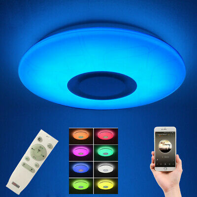 Modern Semi Flush Mount Ceiling Light Fixture with Bluetooth Speaker Party Lamp