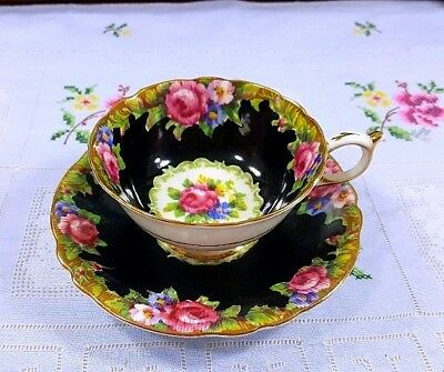 Paragon Tapestry Pink Roses Black Background Hand Painted Cup Saucer