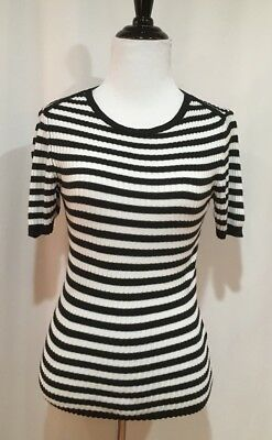 Hugo Boss Black & Ivory Striped Pullover Short Sleeve Knit Top, Size Small