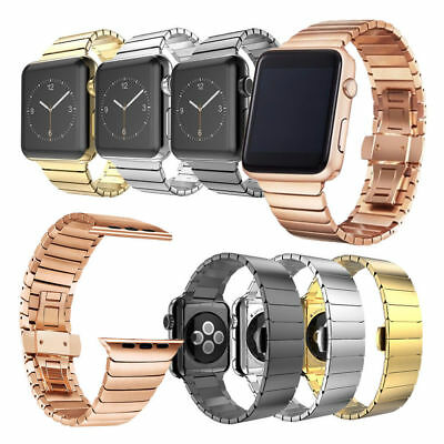 Stainless Steel Butterfly Lock Link Band Strap For Apple Watch Series 4/3/2/1