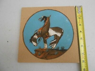 Nice Vintage Older Navajo Indian Sand Art Painting Signed K Dixon 8 X 8 Inches