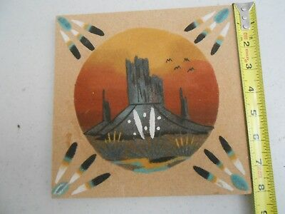 Nice Vintage Older Navajo Indian Sand Art Painting Signed Yozzie 8 X 8 Inches