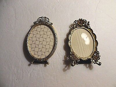Lot of 2 Vintage Small Oval Ornate Frames w Glass and Hangers, Italy