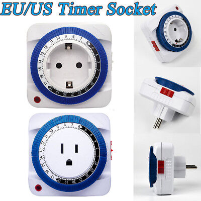 24 Hours Timer Socket Mechanical Program Timer Switch Wall Sockets Protector New