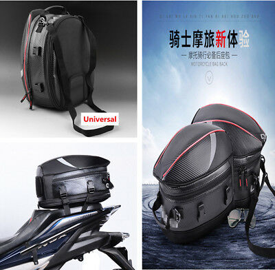 PU Leather Carbon Fiber Motorcycle Tail Bag Back Seat Bag w/Red Edge +Rain Cover