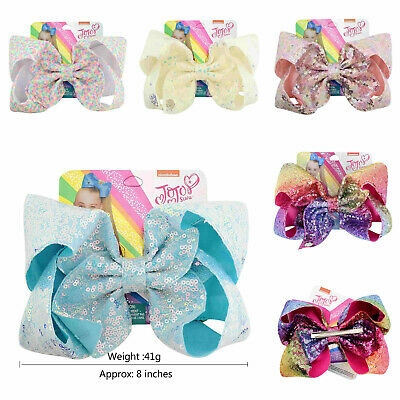 8 inch JOJO SIWA Large Girls Kids Sequin Bow Rainbow Bowknot Hair Clips Unicorn