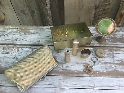 Lot Of Vintage Gold Metal Beauty Accessories Gold Lighter Gold Vanity Box