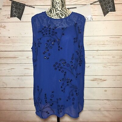 e24b9ed901d New Simply Emma Womens Blue Embroidered 2 Pc Sleeveless Blouse Top Plus Size  3X