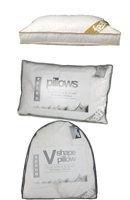 Luxury Duck feather&Down Non Allergenic Orthopedic V Shape,Standard & Box Pillow
