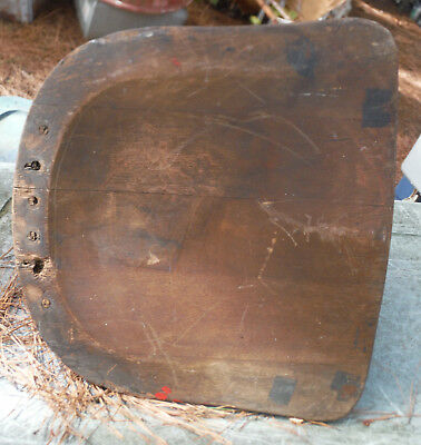 Wooden Desk Chair Seat with Vintage Hardware & Spring