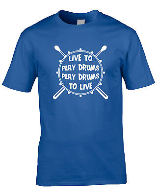 Live To Play Drums Mens T-Shirt Funny Drumming Drummer Gift Rock Instrument