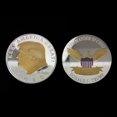 Donald Trump 2020 Gold/Silver Challenge Coin KEEP AMERICA GREAT!