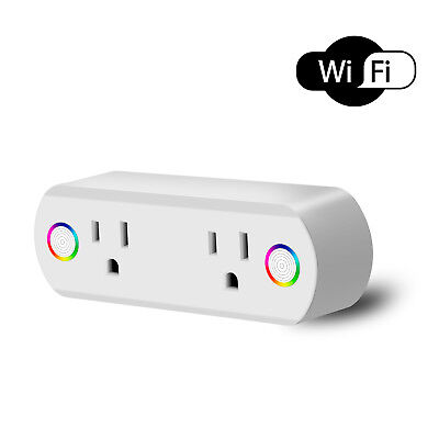 Dual Ports Wifi Smart Socket Plug Google Home Alexa Remote Control Work Outlet