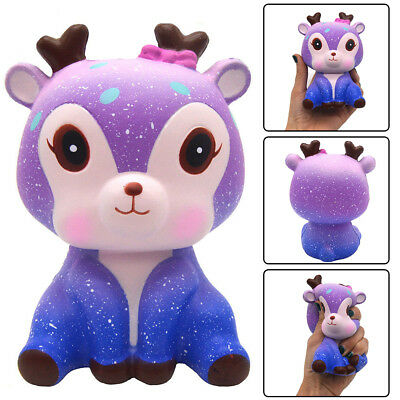 1pcs Kawaii Galaxy Deer Cream Scented Slow Rising Squeeze Strap Kids Toy Gift US