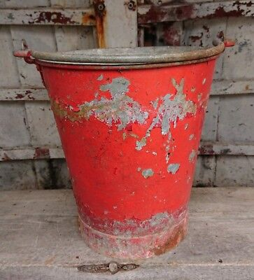 antique vintage rivet galvanised metal FIRE bucket heavy planter country garden