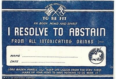 Abstain from Intoxicating Drinks 1915 card.