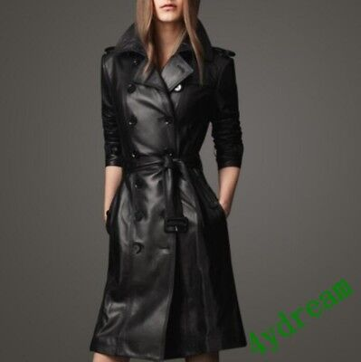 Womens Double Breasted Slim Fit Pu Leather Waistband Long Lapel Jacket Trench
