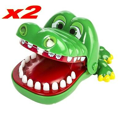 2pc Funny Big Crocodile Mouth Dentist Bite Finger Toy Family Game For Kids Xmas