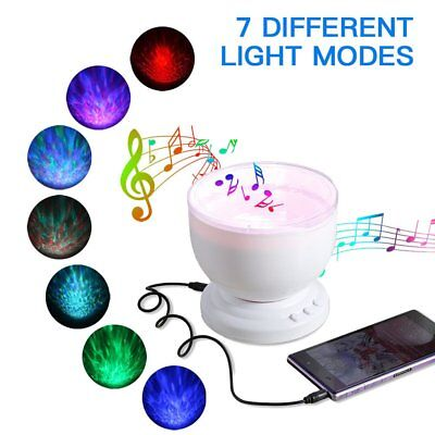 Ocean Wave Projector Remote Control 12 LED 7 Colors Night Light Music Player MY