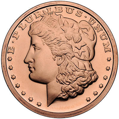 "1 Oz Solid Copper Bullion Art-Round: "" Morgan Silver Dollar "" Design"