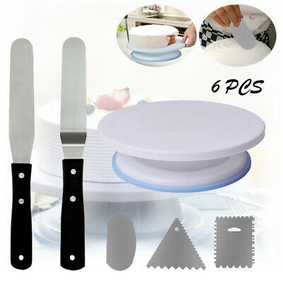 Cake Decorating Turntable Rotating Stand Comb Icing Smoother Durable Spatula