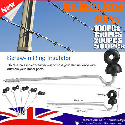 50-500x Screw In Electric Fence Wood timber Post Insulators tape cord wire fence