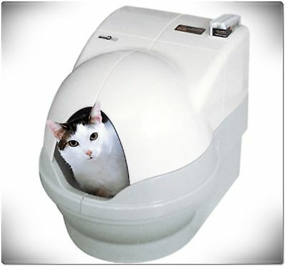 Dome White Accessory Litter Boxes Cat Pet Self Washing Flushing Privacy Rim Base