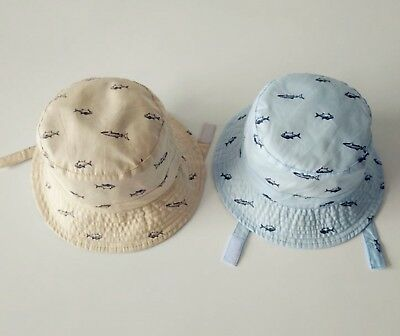 Boys Kid Children Cotton Travel Shark Fish Check Bucket Sun Hat Cap strap 1-10yr