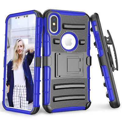 For iPhone X 6 7 8 Shockproof Hybrid With Kickstand Holster Belt Clip Case Cover