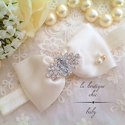 Baby Girl Christening/Baptism Flowergirl Headband Ivory/White Bow Crystal Pearls