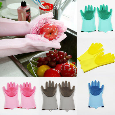 Silicone Magic Cleaning Brush Scrubber Gloves Kitchen Cleaning Heat Resistant AU