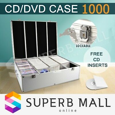 Aluminium CD DVD Storage Case Bluray Box 1000 Discs Holder Folder Organizer