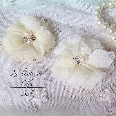 Ivory Pearl Crystal Christening Baptism Wedding Bridesmaid / set of 2 Hair Clips