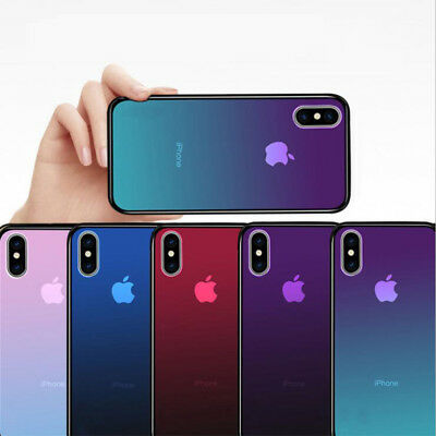 Color Change Gradient Clear Protective Cover Case for iPhone X 7 7S 8 Plus Back