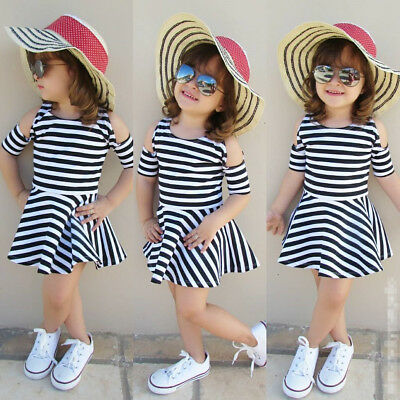 Kids Toddlers Infant Baby Girls Cold Shoulder Casual Clothes Short Mini Dress