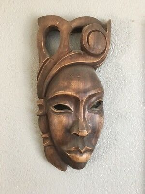 Fair Trade Hand Carved Made Wooden Tribal Ethnic Tiki Wall Art Hanging Mask Cuba