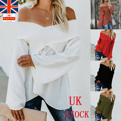 UK Womens Off Shoulder Long Sleeve Wrap Shirts Ladies Blouse Casual Summer Top