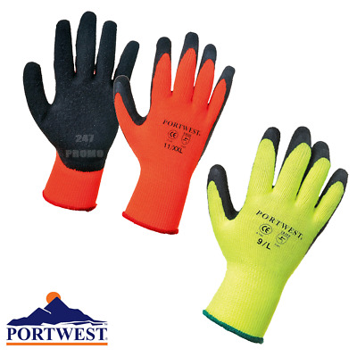 Portwest Thermal Grip Gloves Safety Workwear Laltex Palm Coated Warm Liner Sizes