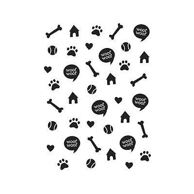 Darice Embossing Folder A2 DOG House, bones, paw prints, woof, hearts toys