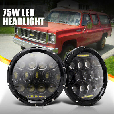 Fit Chevrolet C10 Suburban Pair 7inch LED Headlight DRL Hi-Lo BEAM H4 H13